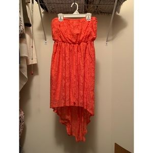 High Low Orange Lace Dress